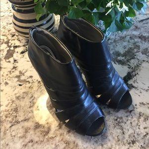 Mossimo Black Peep Toe Leather High Heel